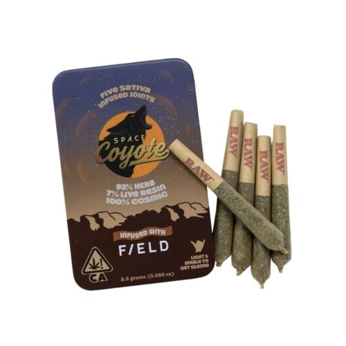 Space Coyote x F/ELD INFUSED Preroll -5pk- Live Resin – Indica .5g each